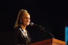 Spokane NAACP President Rachel Dolezal and Inlander commentary contributor speaks during a Martin Luther King Jr. Day Rally and March at the Spokane Convention Center in Spokane, Wash., Monday, Jan. 19, 2015. (Young Kwak/Pacific Northwest Inlander)