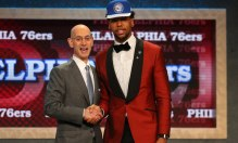 Jun 25, 2015; Brooklyn, NY, USA; Jahlil Okafor (Duke) greets NBA commissioner Adam Silver after being selected as the number three overall pick to the Miami Heat in the first round of the 2015 NBA Draft at Barclays Center. Mandatory Credit: Brad Penner-USA TODAY Sports ORG XMIT: USATSI-225610 ORIG FILE ID:  20150625_pjc_ae5_298.JPG