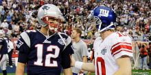 New England Patriots quarterback Tom Brady (12) and New York Giants quarterback Eli Manning meet on he field before the Super Bowl XLII football game at University of Phoenix Stadium on Sunday, Feb. 3, 2008 in Glendale, Ariz. (AP Photo/David J. Phillip)
